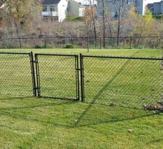 48 Black Chain Link Fence Gate