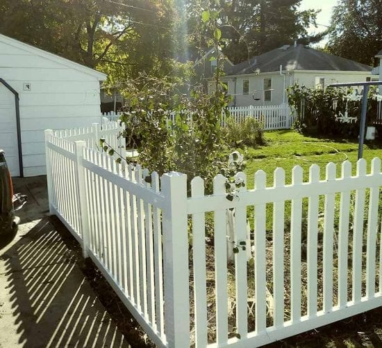 48 White Vinyl Picket Fence Dog Eared Top