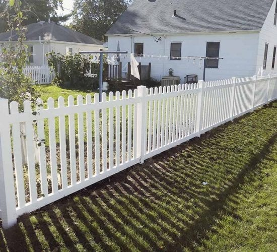 4 White Vinyl Dog Eared Picket Fence