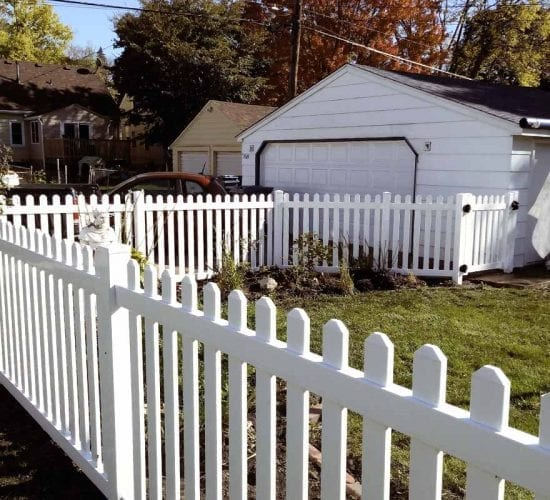 White Vinyl Picket Fence Dog Eared Mn