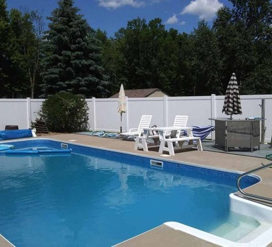 White Vinyl Privacy Fence Pool Installation